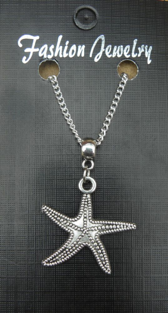 "18"" 24"" Inch Chain Necklace & Starfish Pendant Symbol of Divine Love Fish Charm"